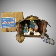 Vintage Hand Painted Nativity Scene Set wit Original Box – 1950's