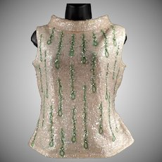 Ladies Vintage Beaded and Sequined Shell Top - 1960's Evening Wear
