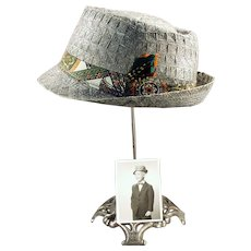 Boy's Vintage Woven Straw Fedora Hat with Old Photo of Original Owner