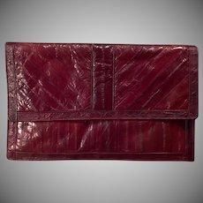 Vintage Saffron Handbag Clutch - Beautiful Cordovan/Mahogany Eel Skin