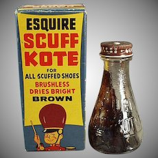Vintage Shoe Polish with Fun Circus Graphics on Box - Old Esquire Scuff Kote