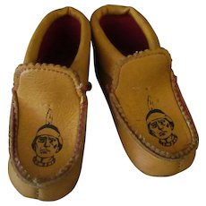 Child's Vintage Moccasin Slippers with Indians on the Top