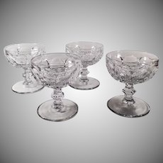 Vintage Heisey Glassware Sherbets - Set of 4  #1506 Provincial Pattern - Clear