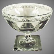 Vintage Greek Key Pressed Glass Sherbet