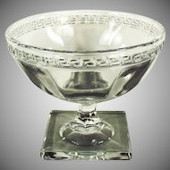 Vintage Greek Key Pressed Glass Sherbet - Total of Five (5) Available