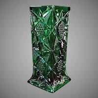 Vintage Green Illinois Pattern Pressed Glass Soda Fountain Straw Holder
