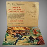 Vintage Advertising Premium Puzzle - Davoe & Raynolds - Fun & Colorful Limerick