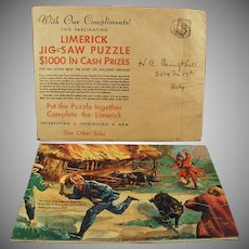 Vintage Advertising Premium Puzzle - Davoe & Raynolds - Fun & Colorful Limerick