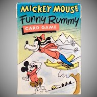 Vintage Mickey Mouse Funny Rummy Card Game with Original Box