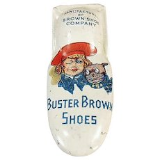 Vintage Tin Toy Clicker - Old Buster Brown Shoes Advertising