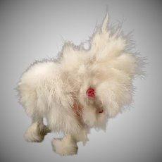 Vintage Hopping Rabbit Wind Up Toy – Fuzzy Fur Bunny with Pink Eyes
