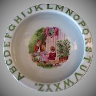 Vintage ABC Baby Dish with Puppet Show, Children, Punch & Devil