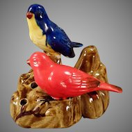 Vintage Pottery Flower Frog with Two Colorful Little Birds - Made in Japan