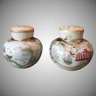 Vintage Salt and Pepper Set - Handpainted Oriental Decorations and Gold Trim