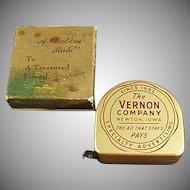 Vintage Vernon Company Advertising Steel Tape Measure with Original Box