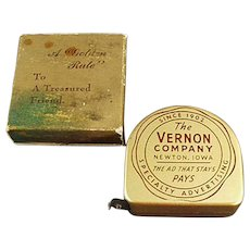Vintage Vernon Company Advertising Steel Tape Measure with Original Box