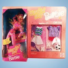 Vintage Workin' Out Barbie Doll and Fashions Gift Set with Tennis and Soccer Clothes