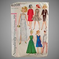 Vintage Simplicity #6208 Doll Clothes Pattern for Barbie and Other Teen Model Dolls
