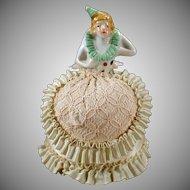 Vintage Porcelain Half Doll in Costume with Fancy Original Dress