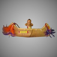 Vintage Celluloid Indian Doll in Ojibwa Souvenir Birch Bark Canoe