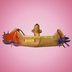 Vintage Celluloid Indian Doll in Ojibwa Souvenir Birch Bark Canoe