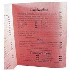 Vintage Fern's Restaurant Soda Fountain Menu from the 1950's