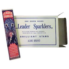 Old George Washington Fourth of July Sparklers - Full Unused 12 Box Case