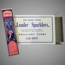 Old George Washington Fourth of July Sparklers - Full Unused 12 Box Case