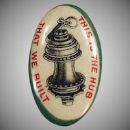 Vintage Celluloid Advertising Button - Wheel Hub Graphics - Early 1900's