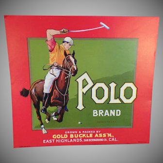 Vintage California Fruit Crate Label – Polo Brand - Great for Framing