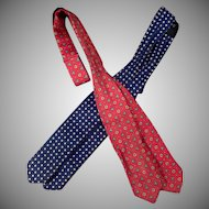 Two Vintage Arrow Bow Ties Size 13-18 Patterned Self Tie