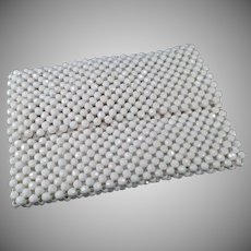 Vintage White Bead Handbag Evening Clutch from Italy - 1970's Small Purse