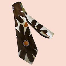 Men's Vintage Necktie – Large Brown Flowers, Bold Yet Slightly Understated