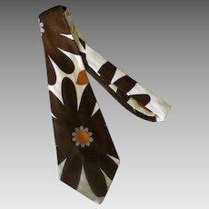 Men's Vintage Necktie – Large Brown Flowers, Bold Yet Slightly Understated