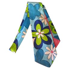 Men's Vintage Necktie with Blue Flower Power – Wide Style