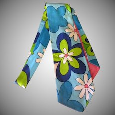 Men's Vintage Necktie with Blue Flower Power – Wide Style