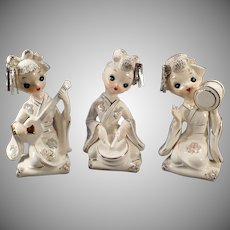 Vintage Set of Geisha Girls - Three Pretty Geishas with Gold Trim