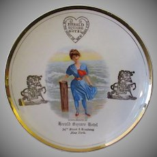 Vintage Advertising Plate – Herald Square Hotel with Victorian Bathing Beauty