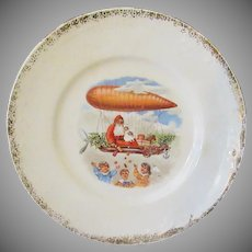 Vintage Christmas Plate with Santa Claus in Hot Air Balloon Zeppelin Dirigible