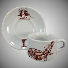 Vintage Restaurant China Coffee Cup and Saucer – Prairie Dog / Ground Hog