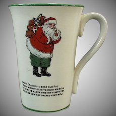 Vintage Humoresque Santa Claus Mug with Christmas Poem