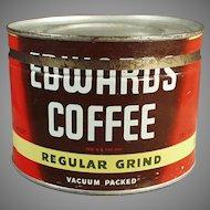 Vintage 1# Key Wind Edwards Coffee Tin