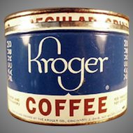 Vintage 1#  Key Wind Kroger's Coffee Tin with Advertising on the Lid