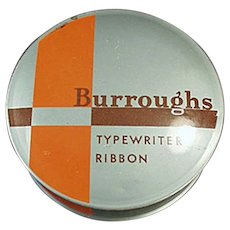 Vintage Typewriter Ribbon Tin from the Burroughs Adding Machine Co.