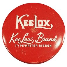 Vintage KeeLox Typewriter Ribbon Tin in Red