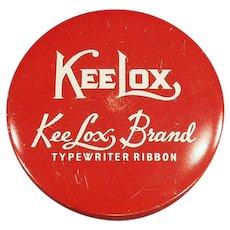 Vintage KeeLox Typewriter Ribbon Tin in Red