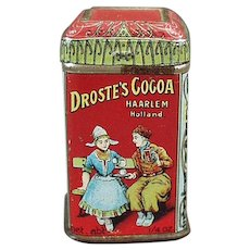Very Small Vintage Droste Cocoa Sample Tin - Colorful Advertising Miniature