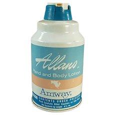 Vintage 1965 Amway Allano Hand and Body Lotion Tin - Bathroom Decor