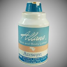 Vintage 1965 Amway Allano Hand and Body Lotion Tin - Bathroom Decor