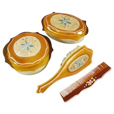 Vintage Celluloid Dresser Set - Covered Boxes with Fabric Inserts, Matching Brush and Comb